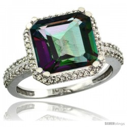 14k White Gold Diamond Halo Mystic Topaz Ring Checkerboard Cushion 11 mm 5.85 ct 1/2 in wide