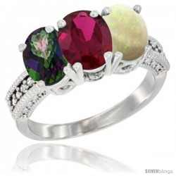 14K White Gold Natural Mystic Topaz, Ruby & Opal Ring 3-Stone 7x5 mm Oval Diamond Accent