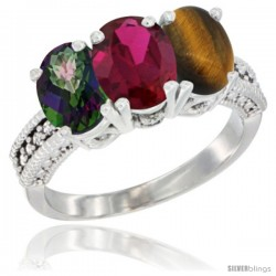 14K White Gold Natural Mystic Topaz, Ruby & Tiger Eye Ring 3-Stone 7x5 mm Oval Diamond Accent