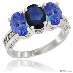 14K White Gold Natural Blue Sapphire Ring with Tanzanite 3-Stone 7x5 mm Oval Diamond Accent