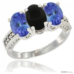 14K White Gold Natural Black Onyx Ring with Tanzanite 3-Stone 7x5 mm Oval Diamond Accent