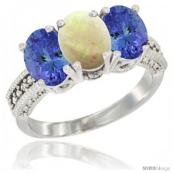 14K White Gold Natural Opal Ring with Tanzanite 3-Stone 7x5 mm Oval Diamond Accent