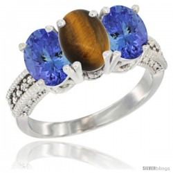 14K White Gold Natural Tiger Eye Ring with Tanzanite 3-Stone 7x5 mm Oval Diamond Accent