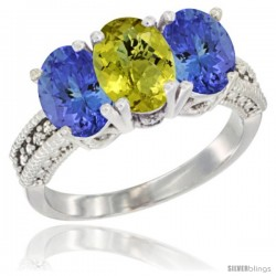 14K White Gold Natural Lemon Quartz Ring with Tanzanite 3-Stone 7x5 mm Oval Diamond Accent