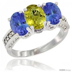 14K White Gold Natural Lemon Quartz Ring with Tanzanite 3-Stone 7x5 mm Oval Diamond Accent