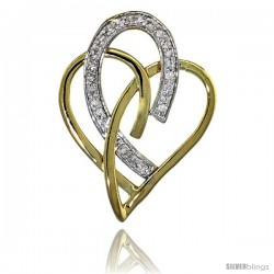14k Gold 18 in. Thin Chain & Interlacing Heart Cut Outs Diamond Pendant w/ 0.24 Carat Brilliant Cut ( H-I Color VS2-SI1