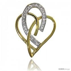 14k Gold 18 in. Thin Chain & Interlacing Heart Cut Outs Diamond Pendant w/ 0.24 Carat Brilliant Cut ( H-I Color VS2-SI1