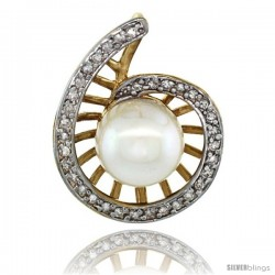 14k Gold 18 in. Thin Chain & Swirl Pearl Pendant w/ 0.19 Carat Brilliant Cut ( H-I Color VS2-SI1 Clarity ) Diamonds & 9mm