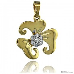 14k Gold 18 in. Thin Chain & 7-Stone Flower Pendant w/ 0.22 Carat Brilliant Cut ( H-I Color VS2-SI1 Clarity ) Diamonds