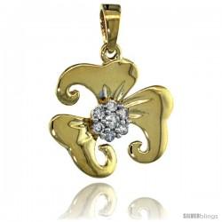 14k Gold 18 in. Thin Chain & 7-Stone Flower Pendant w/ 0.22 Carat Brilliant Cut ( H-I Color VS2-SI1 Clarity ) Diamonds