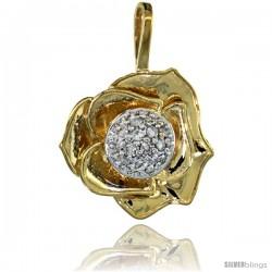 14k Gold 18 in. Thin Chain & Rose Flower Pendant w/ 0.41 Carat Brilliant Cut ( H-I Color VS2-SI1 Clarity ) Diamonds