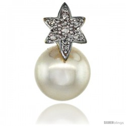 14k Gold 18 in. Thin Chain & Flower Pearl Pendant w/ 0.07 Carat Brilliant Cut ( H-I Color VS2-SI1 Clarity ) Diamonds & 9mm