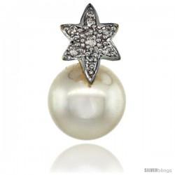 14k Gold 18 in. Thin Chain & Flower Pearl Pendant w/ 0.07 Carat Brilliant Cut ( H-I Color VS2-SI1 Clarity ) Diamonds & 9mm