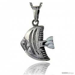 Sterling Silver Fish Pendant, 1 1/16 in tall