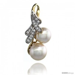 14k Gold 18 in. Thin Chain & Ribbon Pearl Pendant w/ 0.14 Carat Brilliant Cut ( H-I Color VS2-SI1 Clarity ) Diamonds & 8mm