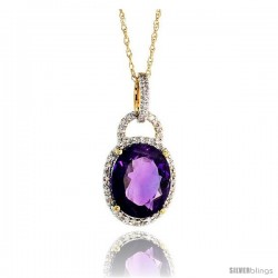 "14k Gold 18"" Chain & 7/8"" (23mm) tall Amethyst Pendant, w/ 0.15 Carat Brilliant Cut Diamonds & 4.70 Carats 11x9mm Oval Cut"