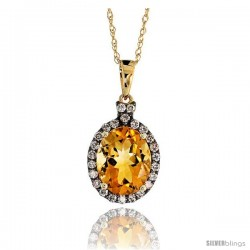 "14k Gold 18"" Chain & 5/8"" (16mm) tall Oval Pendant, w/ 0.27 Carat Brilliant Cut Diamonds & 2.85 Carats 10x8mm Oval Cut Citrine"