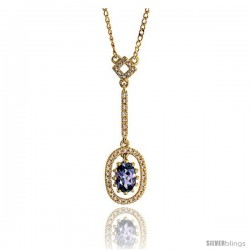 "14k Gold 18"" Chain & 1 1/8"" (28mm) tall Oval Diamond Pendant, w/ 0.16 Carat Brilliant Cut Diamonds & 0.50 Carat Oval Cut"