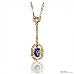 """14k Gold 18"""" Chain & 1 1/8"""" (28mm) tall Oval Diamond Pendant, w/ 0.16 Carat Brilliant Cut Diamonds & 0.50 Carat Oval Cut"""
