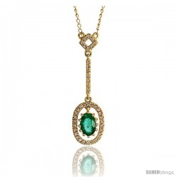 "14k Gold 18"" Chain & 1 1/8"" (28mm) tall Oval Diamond Pendant, w/ 0.16 Carat Brilliant Cut Diamonds & 0.50 Ca -Style Plj024"