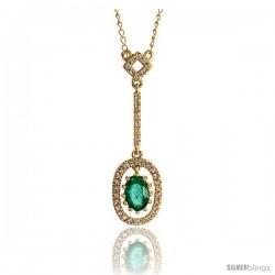"14k Gold 18"" Chain & 1 1/8"" (28mm) tall Oval Diamond Pendant, w/ 0.16 Carat Brilliant Cut Diamonds & 0.50 Ca -Style Plj024"
