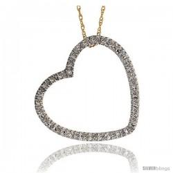 "14k Gold 18"" Chain & 13/16"" (21mm) tall Diamond Heart Pendant, w/ 0.26 Carat Brilliant Cut Diamonds"
