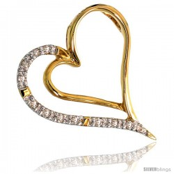 "14k Gold 18"" Thin Chain & 11/16"" (17mm) tall Diamond Heart Pendant, w/ 0.06 Carat Brilliant Cut Diamonds"
