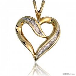 "14k Gold Diamond Heart Pendant, w/ 0.20 Carat Baguette Diamonds, 9/16"" (14mm) tall"