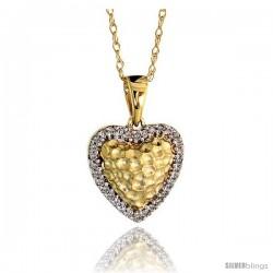 "14k Gold 18"" Chain & 7/16"" (12mm) tall Hammered Finish Diamond Heart Pendant, w/ 0.10 Carat Brilliant Cut Diamonds"