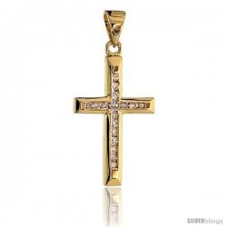 "14k Gold 3/4"" (19mm) tall Diamond Latin Cross Pendant, w/ 0.12 Carat Brilliant Cut Diamonds"