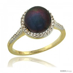 14k Gold Halo Engagement 8.5 mm Black Pearl Ring w/ 0.146 Carat Brilliant Cut Diamonds, 7/16 in. (11mm) wide
