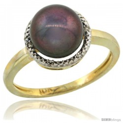 14k Gold Halo Engagement 8.5 mm Black Pearl Ring w/ 0.022 Carat Brilliant Cut Diamonds, 7/16 in. (11mm) wide