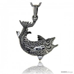 Sterling Silver Salmon Fish Pendant, 1 1/4 in tall