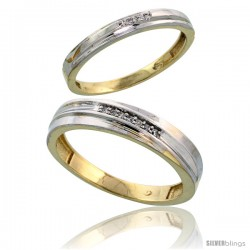 Gold Plated Sterling Silver Diamond 2 Piece Wedding Ring Set His 5mm & Hers 3mm