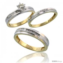 Gold Plated Sterling Silver Diamond Trio Wedding Ring Set His 5mm & Hers 3mm