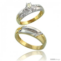 Gold Plated Sterling Silver 2-Piece Diamond Wedding Engagement Ring Set for Him & Her, 5.5mm & 6mm wide