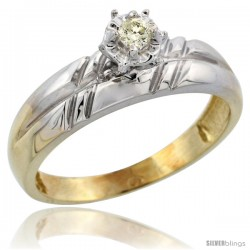 Gold Plated Sterling Silver Diamond Engagement Ring, 7/32 in wide -Style Agy105er