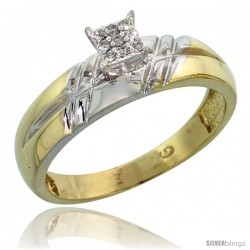 Gold Plated Sterling Silver Ladies Diamond Wedding Band, 7/32 in wide -Style Agy105lb