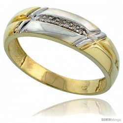 Gold Plated Sterling Silver Mens Diamond Wedding Band, 1/4 in wide -Style Agy105mb