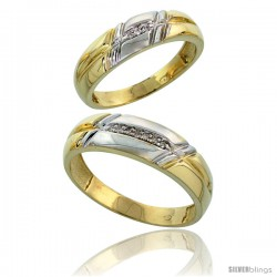 Gold Plated Sterling Silver Diamond 2 Piece Wedding Ring Set His 6mm & Hers 5.5mm