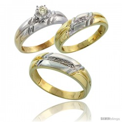 Gold Plated Sterling Silver Diamond Trio Wedding Ring Set His 6mm & Hers 5.5mm