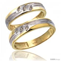 14k Gold 2-Pc His (5mm) & Hers (4.5mm) Diamond Wedding Ring Band Set w/ 0.045 Carat Brilliant Cut Diamonds
