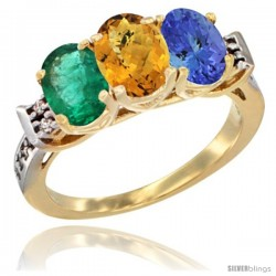 10K Yellow Gold Natural Emerald, Whisky Quartz & Tanzanite Ring 3-Stone Oval 7x5 mm Diamond Accent