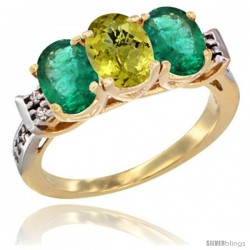 10K Yellow Gold Natural Lemon Quartz & Emerald Sides Ring 3-Stone Oval 7x5 mm Diamond Accent