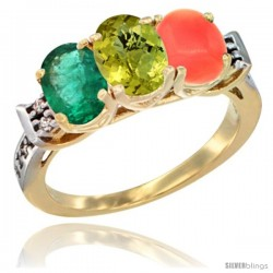 10K Yellow Gold Natural Emerald, Lemon Quartz & Coral Ring 3-Stone Oval 7x5 mm Diamond Accent