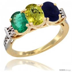 10K Yellow Gold Natural Emerald, Lemon Quartz & Lapis Ring 3-Stone Oval 7x5 mm Diamond Accent