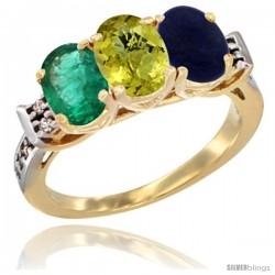 10K Yellow Gold Natural Emerald, Lemon Quartz & Lapis Ring 3-Stone Oval 7x5 mm Diamond Accent