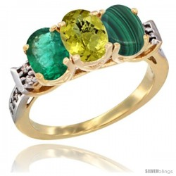 10K Yellow Gold Natural Emerald, Lemon Quartz & Malachite Ring 3-Stone Oval 7x5 mm Diamond Accent