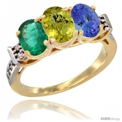 10K Yellow Gold Natural Emerald, Lemon Quartz & Tanzanite Ring 3-Stone Oval 7x5 mm Diamond Accent