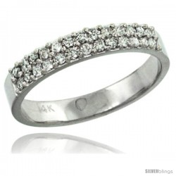 14k White Gold 2-Row Diamond Ring Band w/ 0.31 Carat Brilliant Cut ( H-I Color SI1 Clarity ) Diamonds, 1/8 in. (3.5mm) wide